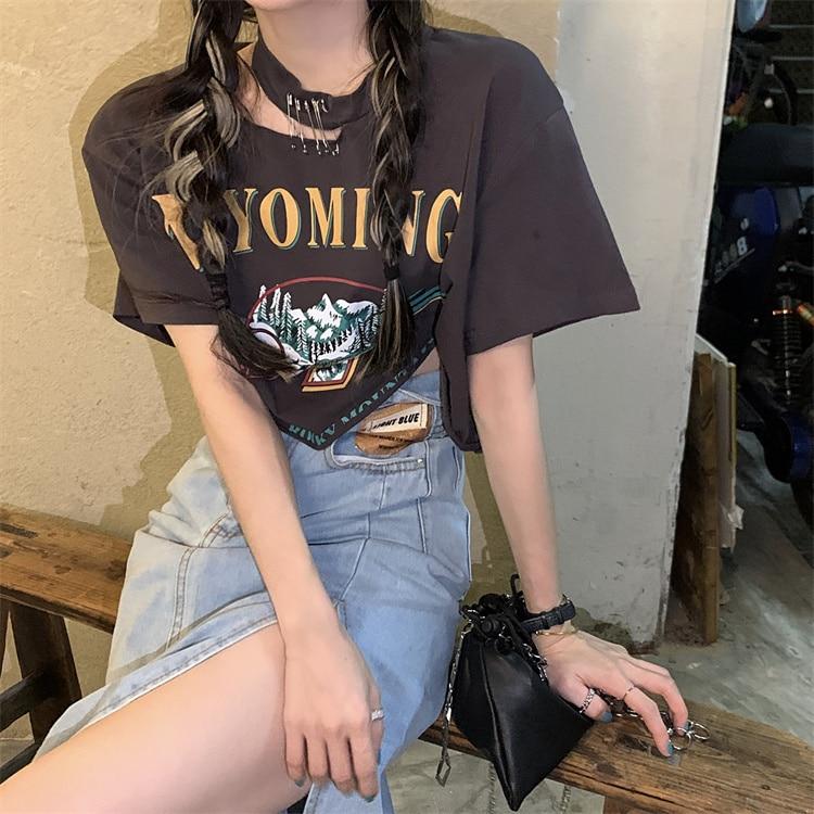 Slim Hollow Design Short T Tee Shirt Femme Harajuku Summer Top Plus Size Women Tops Tshirt Kawaii Ko