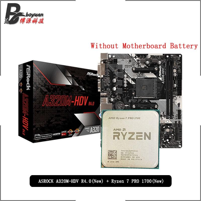 AMD Ryzen 7 PRO 1700 R7 PRO 1700 CPU + ASROCK A320M HDV R4.0 juego para placa base Socket AM4 CPU + traje de base sin enfriador