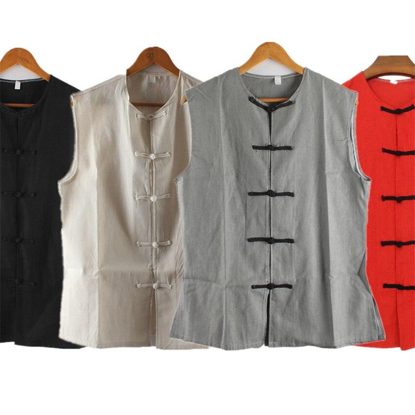 Camisetas de estilo chino Chaleco de hombre tradicional sólido sin mangas de algodón y lino moda Drama Crosstalk fiesta etapa ropa de actuación