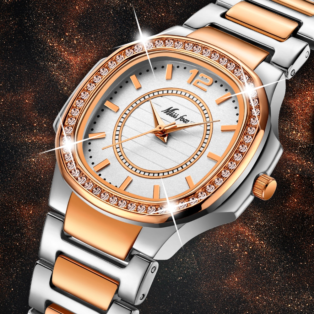MISSFOX Women Watches 2020 Luxury Brand Diamond Quartz Rose Gold Ladies Watch Bracelet Xfcs Bling Dress Watch Relogio Feminino