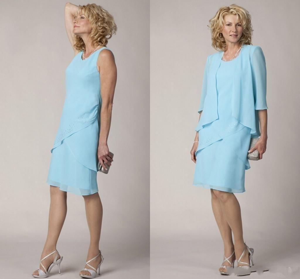 black zip design square neck 3 4 length sleeves dresses New Light Sky Blue Chiffon Knee Length Sheath Mother of the Bride Dresses 3/4 Sleeves Scoop Neck Wedding Guest Dresses