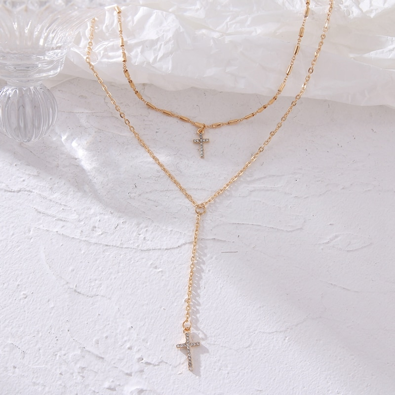 ZOVOLI 2020 модная новая многослойная цепочка из сплава с кристаллами крест ожерелье золотого и серебряного цвета кулон ожерелье набор ювелирные изделия для женщин Ожерелья с подвеской      АлиЭкспресс