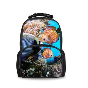 Индивидуальные ранцы с рисунком морской рыбы для девочек-подростков, школьные ранцы, Детские книжные сумки, женские повседневные дорожные ...