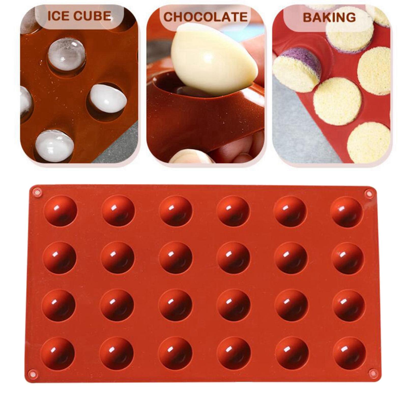 24 buraco retângulo molde de chocolate muffin ferramenta de cozinha bolo cookhalf esfera silicone bolo molde bolinho biscoito cozimento pan