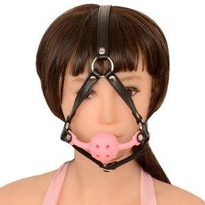 Sex belt Strap Head Harness Open Mouth Plug Oral Gag Adult Games Fetish Bondage Restraints Mouthwatering Sex Toys For Couples