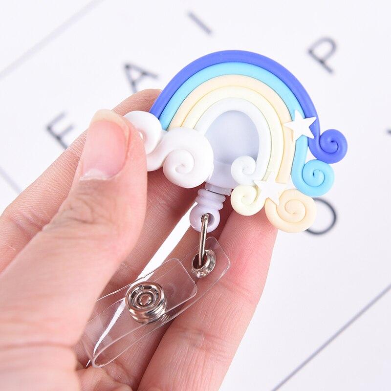 Lollipop Радужный выдвижной брелок для ключей, бирка для удостоверения личности, бирки, зажимы для ремня, 1 шт.