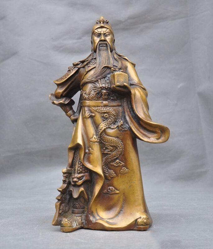 """Decoração do casamento 12 """"antigo suporte de bronze chinês guan gong yu guerreiro deus dragão guangong estátua"""