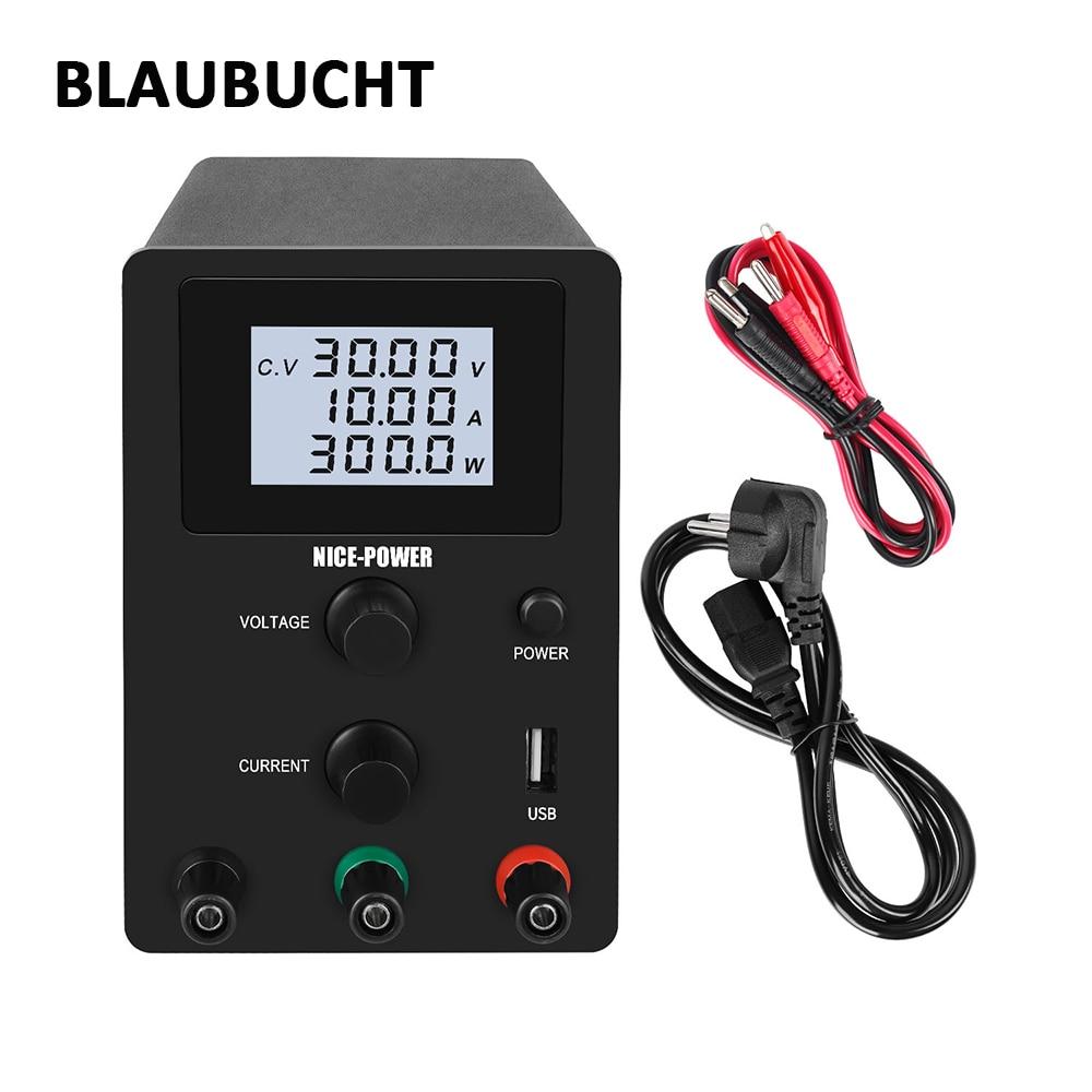 BLAUBUCHT DC regulada laboratorio de suministro de energía 30V 10A ajustable 120V 3A Banco fuente de alimentación estabilizador de voltaje 0.001A/0.01A