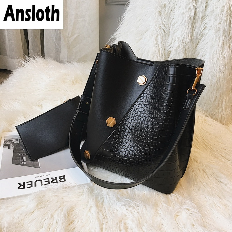 Ansloth Panelled Handbag Women Scrub Shoulder Bag Lady Rivet Crossbody Bag Crocodile Bucket Bag Female Handbag And Purse HPS770