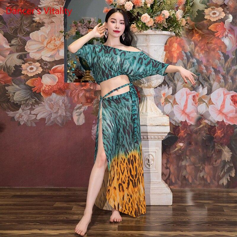 بدلة الرقص الشرقي شبكة ليوبارد طباعة بلوزة الخفافيش الأكمام ضمادة تنورة ممارسة الملابس مجموعة الكبار ملابس أنيقة الأداء