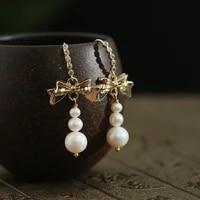 green purple natural fresh water baroque pearl bow drop earrings for women wedding gift pave zircon handmade fashion jewellery