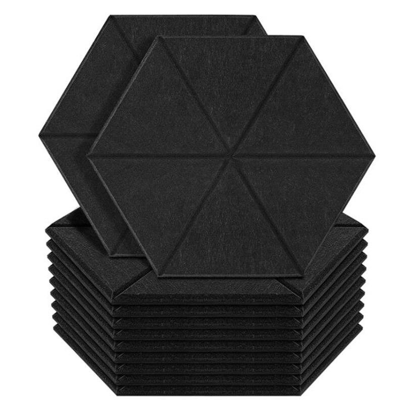 12 حزمة لوحات رغوة مقاومة صوت سمعي ، لوحة امتصاص الصوت السداسي لوحات صوت حافة مشطوف ، ألواح حائط عالية الكثافة