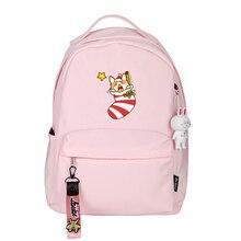 Christmas Corgi Women Back Pack Kawaii Dog School Bags Pink Bookbag Cartoon Travel Backpack Nylon Shoulder Bags Corgi Rugzak