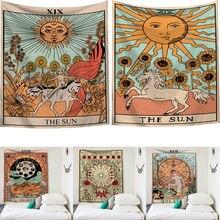Tapisserie indienne à décoration de dortoir   Tarot carte imprimé, carte 2019, tapisserie murale Hippie, couverture de chambre à coucher, couvre-lit, décor de dortoir