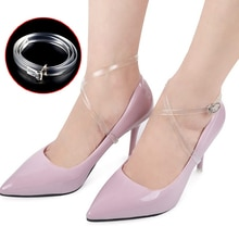 1Pair Solid Transparent Elastic Anti-Falling Beam Shoe Strings Ankle Straps Invisible Silicone Shoel
