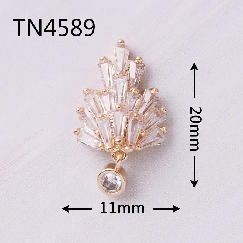 5pcs TN4589 Flower Pendant 3D Zircon Gold metal Alloy Stones Nail Art manicure nail accessories DIY Nail Decorations Nail charms