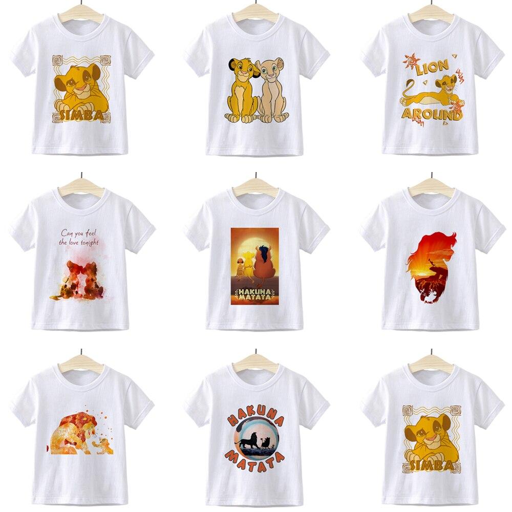 León rey HAKUNA MATATA Simba niños camiseta estética verano hermosa chica niños ropa Retro Punk Casual divertido niños camiseta