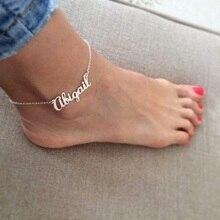 Nom personnalisé Bracelet de cheville personnalisé pour les femmes couleur argent or chaîne de jambe en acier inoxydable Bracelet de cheville femelle bracelets de cheville bijoux de pied