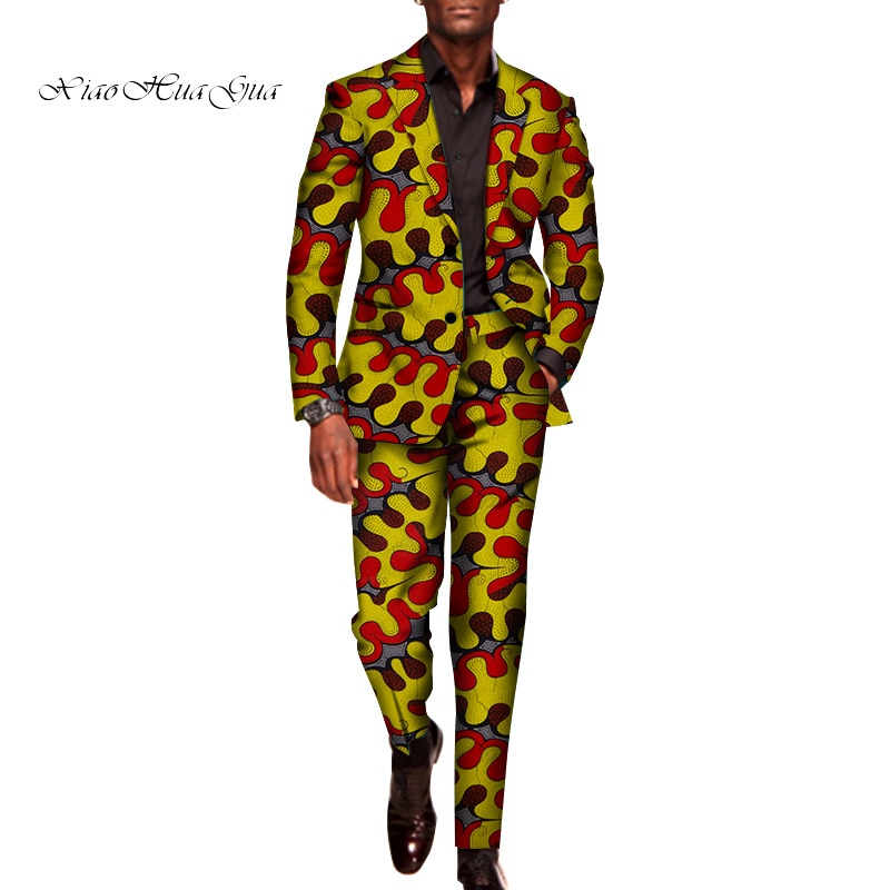 2 Pieces Set for Men Traditional Africa Clothing Pants Suits Men Party Long Sleeve Blazer Suits Plus Size African Outfits WYN602