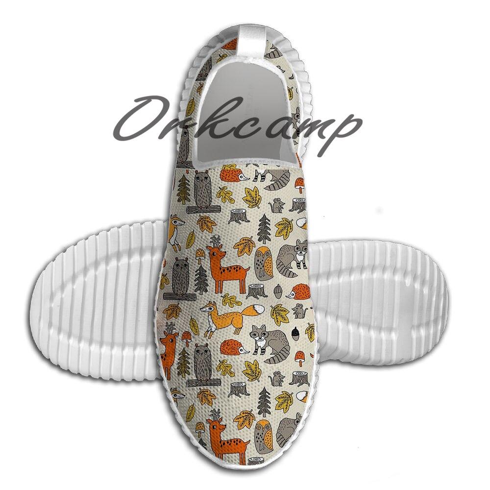 Sapatos esporte de Corrida Floresta acampamento natureza animal coruja veados raposa guaxinim cu Peso Leve Sapatos Malha Respirável Sapatos Yoga