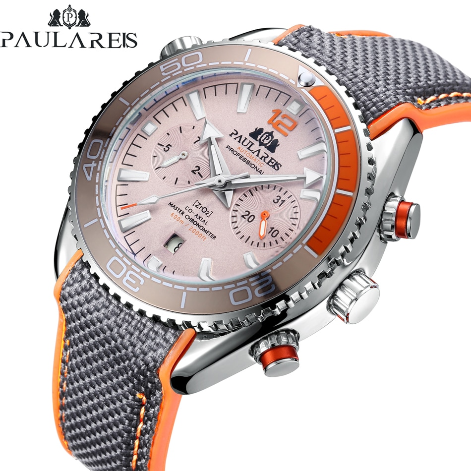 Men Automatic Self Wind Mechanical Canvas Rubber Strap Orange Blue Red Multifunction Date Month Watc