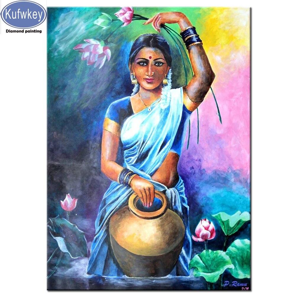 DIY 5D Diamant Malerei Indien Frau Lotus, teekanne Voller Platz Runde bohrer Handwerk Kits Perlen Strass Bild Hause Dekoration
