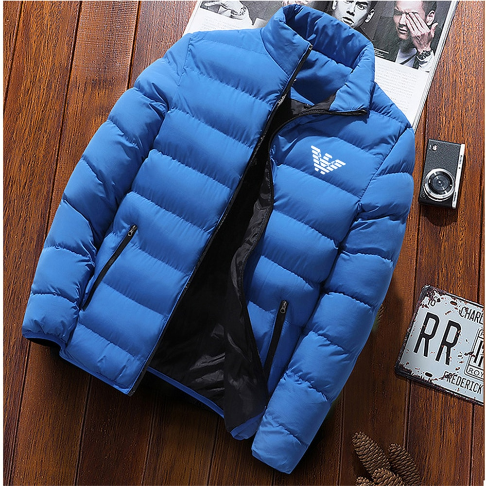 Новая зимняя мужская куртка, Модная парка с воротником, однотонная утепленная куртка, Мужская бейсбольная куртка, ветровка на молнии