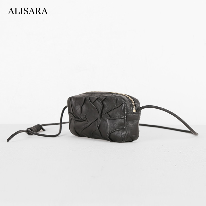 Alisara Women Mini Satchels First Layer Sheepskin Leather Ladies Simple Small Crossbody Shoulder Messenger Cell Phone Bag