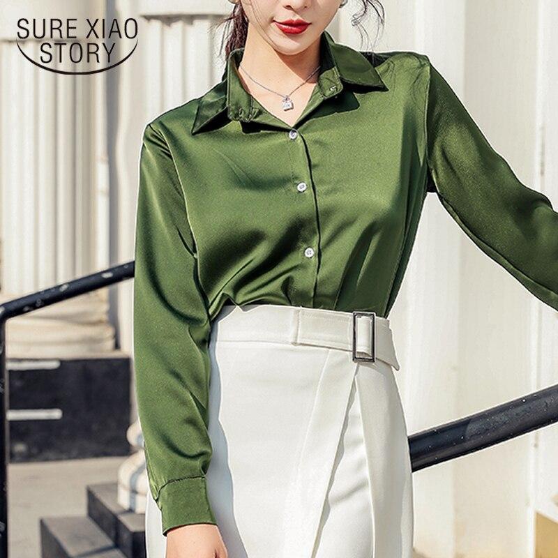 Blusas Mujer De Moda 2020 Camisetas manga larga Lisa OL chaqueta Blusa De gasa POLO cuello Oficina damas Blusas coreanas 8198 50