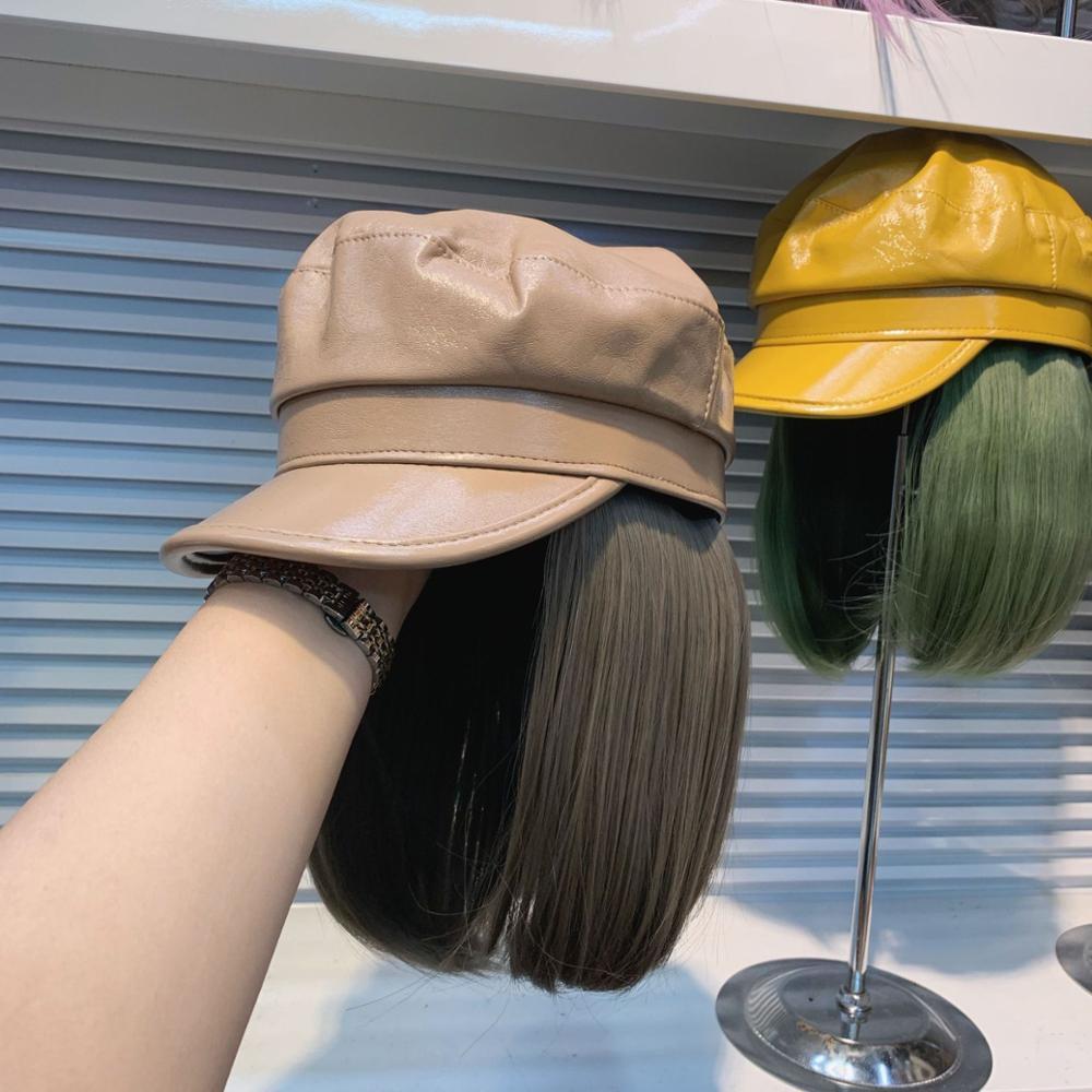 AliExpress - 202011-yuchun53299063 fashion  pu hat patchwork  Cool False hair  lady service Octagonal  hat  women leisure  visors cap