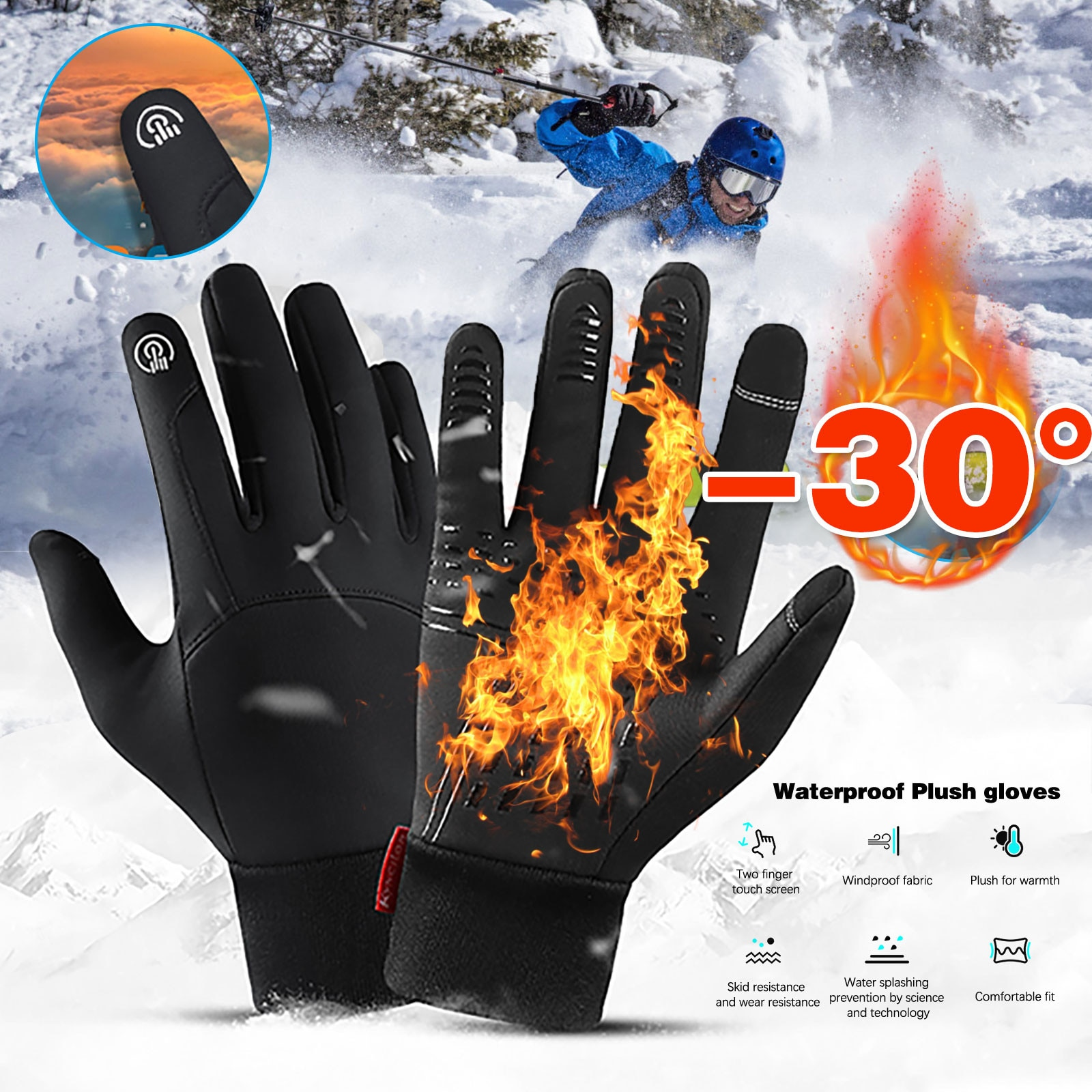 Winter Outdoor Sports Ski Running Gloves Warm Touch Screen Gym Fitness Full Finger Gloves For Men Women Thermo Magic Gloves