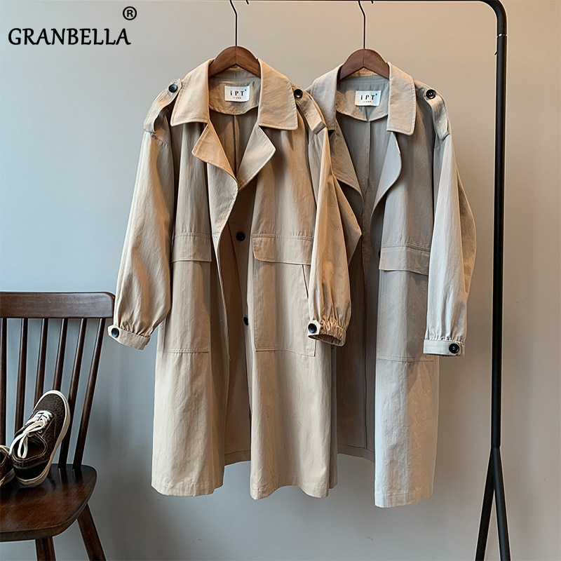 Khaki Grey Autumn Winter Raincoat Women's New Pure Color Long Sleeve Coat Trench For Women Lapel Collar Casual Vintage Overcoat