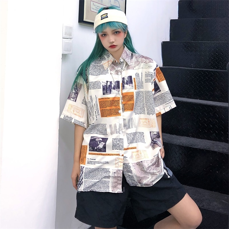 Vintage Oversized Shirts Women Hip Hop Streetwear 2021 Summer Printed Cool Girl Clothes OL Short Sleeve Blouses Female Top
