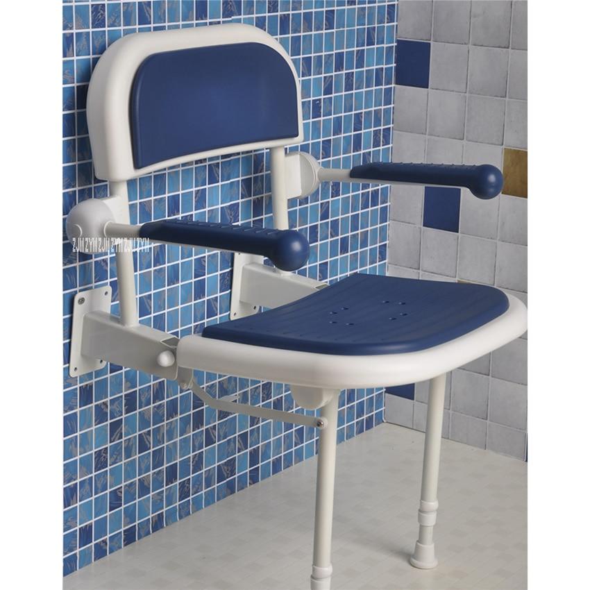 كرسي حمام مثبت على الحائط من الألومنيوم ، مقعد حمام قابل للطي مع 6 سرعات تعديل ، كرسي دش قابل للطي