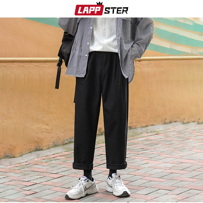 LAPPSTER Men Korean Fashions Harem Pants Wide Leg Joggers 2020 Mens Black Loose Sweatpants Japan Style Straight Pants Trousers