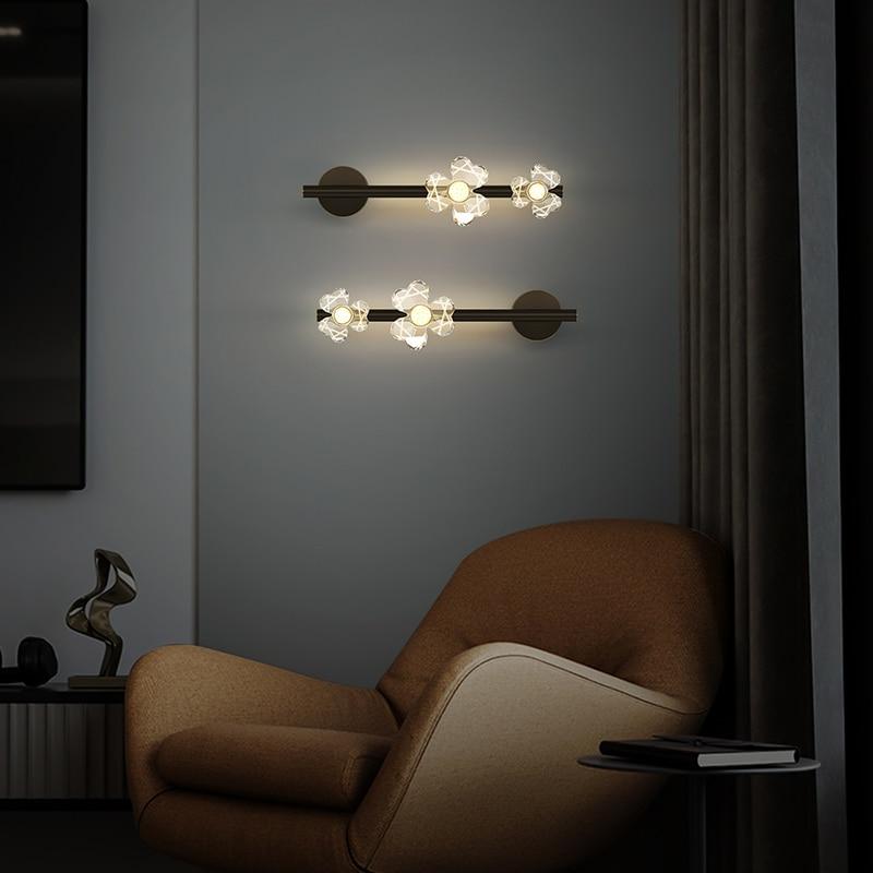 Modern Minimalist Acrylic Flower Copper Wall Lamp Bedroom Mirror Front Lights Living Room Tv Cabinet Study Lighting
