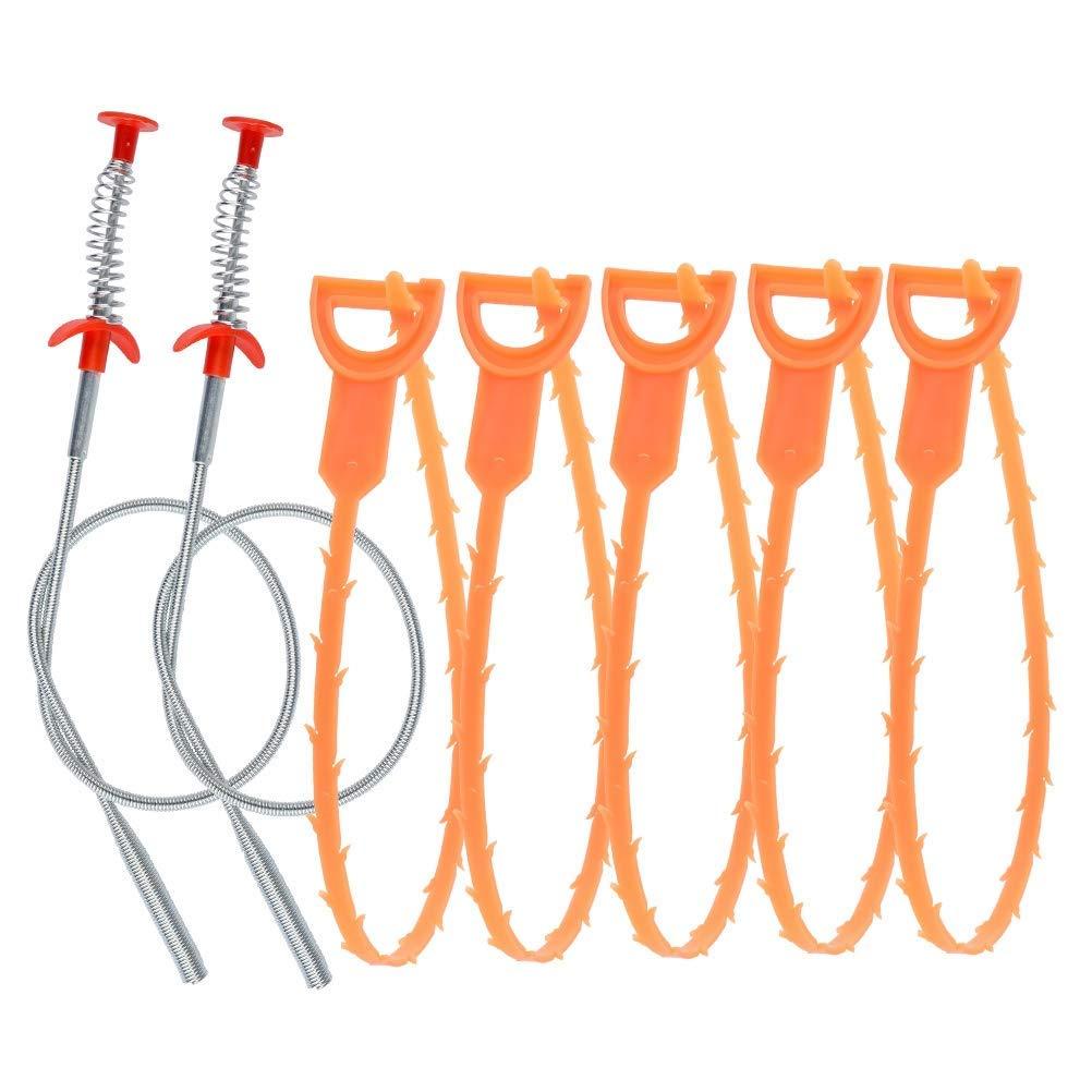 Nuevo juego de serpiente de drenaje de 7 uds, herramienta de alivio de drenaje de 5 uds + 2 uds, removedor de clavo de pelo de serpiente de drenaje para fregadero de cocina, bañera, ducha