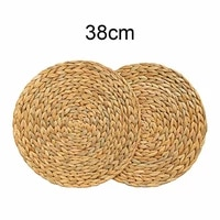 2pcs woven rattan table mat rattan placemats dining table mat water gourd placemat round pad dining table mat straw cup coaster