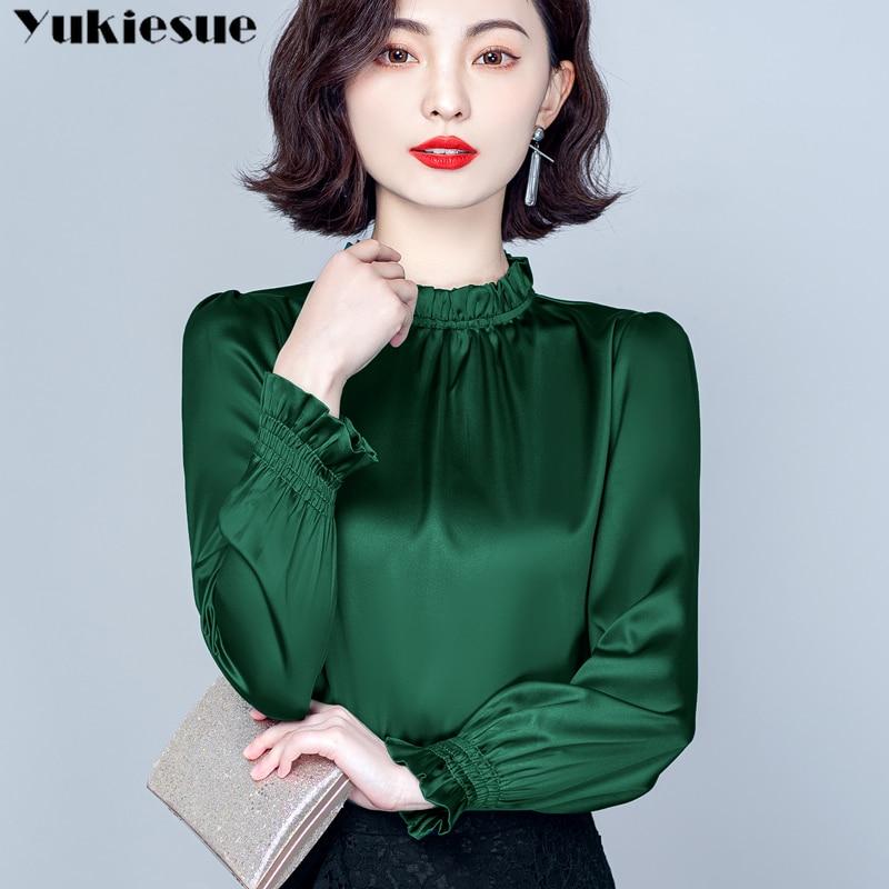fashion woman blusas mujer elegantes 2021 summer imitate silk Long sleeve Women's shirt Top blouses and shirts women tops