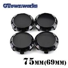 4 pièces 75mm capuchon central de roue en plastique pour jante de voiture noir Chrome enjoliveur cache-poussière avec 10 vis décoratives
