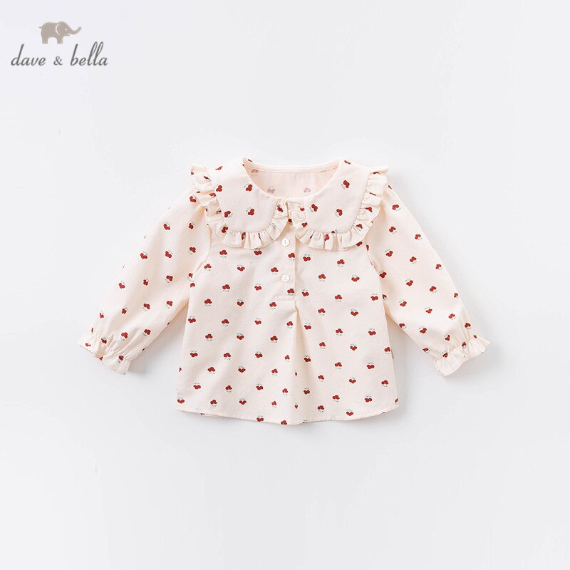 Dave bella/DBJ14427 Осенняя рубашка для маленьких девочек с цветочным принтом, топы для младенцев, детская одежда высокого качества|Блузки и рубашки| | АлиЭкспресс