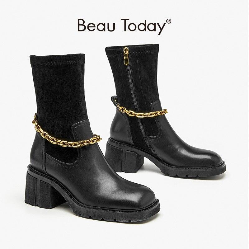 BeauToday أحذية عالية الكعب النساء جلد البقر الكاحل تمتد الأحذية الجانب سستة مربع اصبع القدم سلسلة معدنية السيدات أحذية كعب سميك 02414