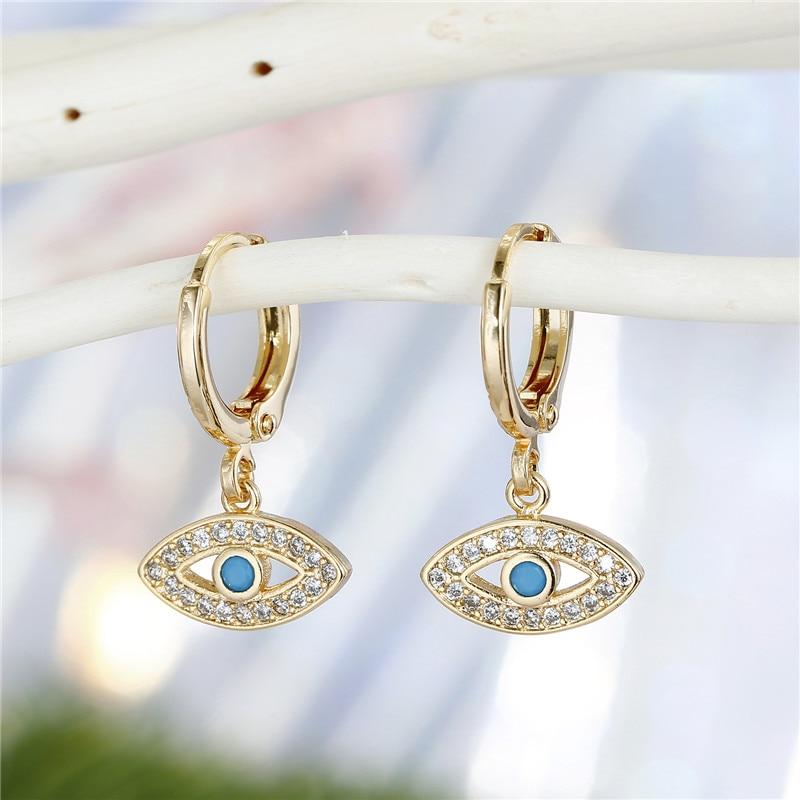 1Pair Bohemian Trendy Zircon Hollow Evil Eye Hoop Earrings For Women Cute Unique Gold Color Crystal Eye Circle Earrings Jewelry