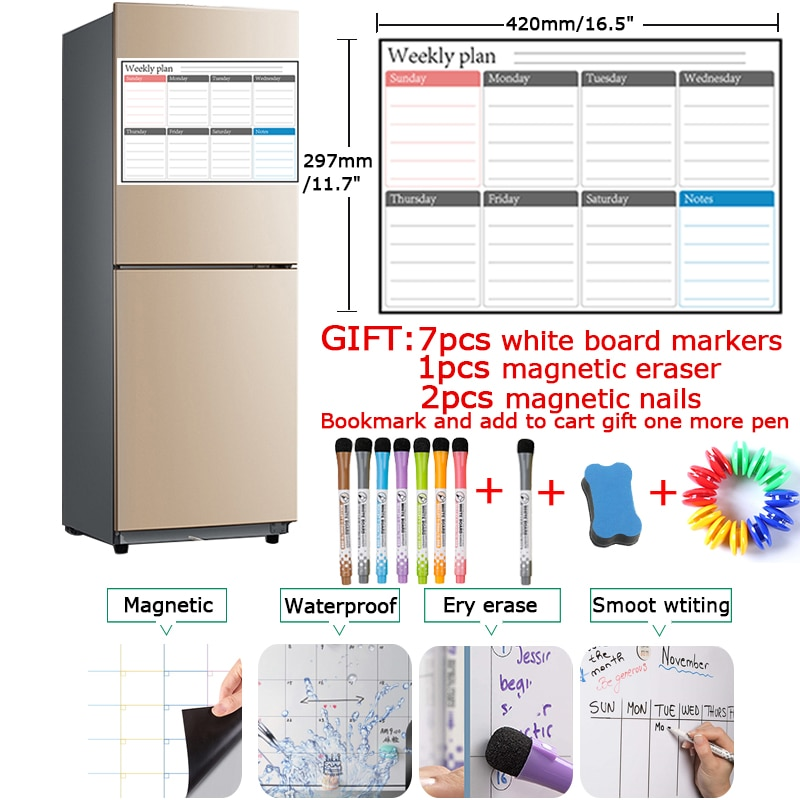 Magnetic Weekly Monthly Planner Calendar Dry Erase Whiteboard Markers A3 Size Fridge Message Drawing Memo Magnet Moterm Stickers