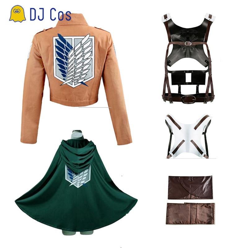 Fantasia de attack on titan, cosplay shingeki no quijin recon corpo, shorts de couro, avental, saia de scouting, legion, capa