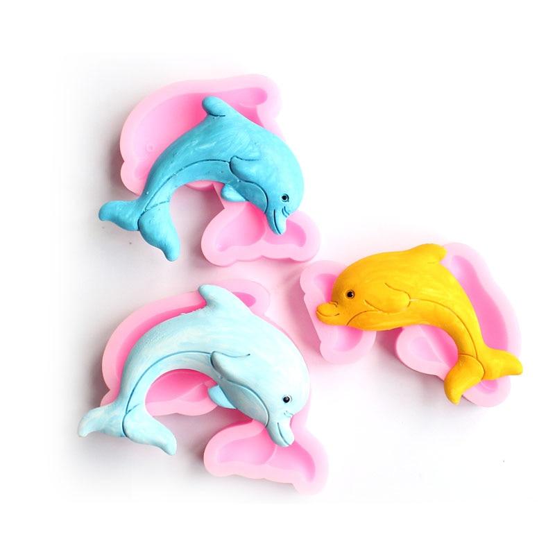 Molde de silicona de delfín DIY Fondant, arcilla, yeso, cera aromática molde decoración Decoración Accesorios para hornear utensilio