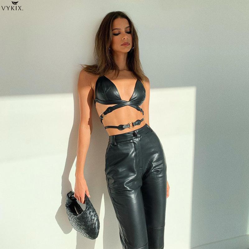 Женский комплект из двух предметов, укороченный топ и брюки из искусственной кожи на шнуровке с лямкой на шее, сексуальный готический костю...