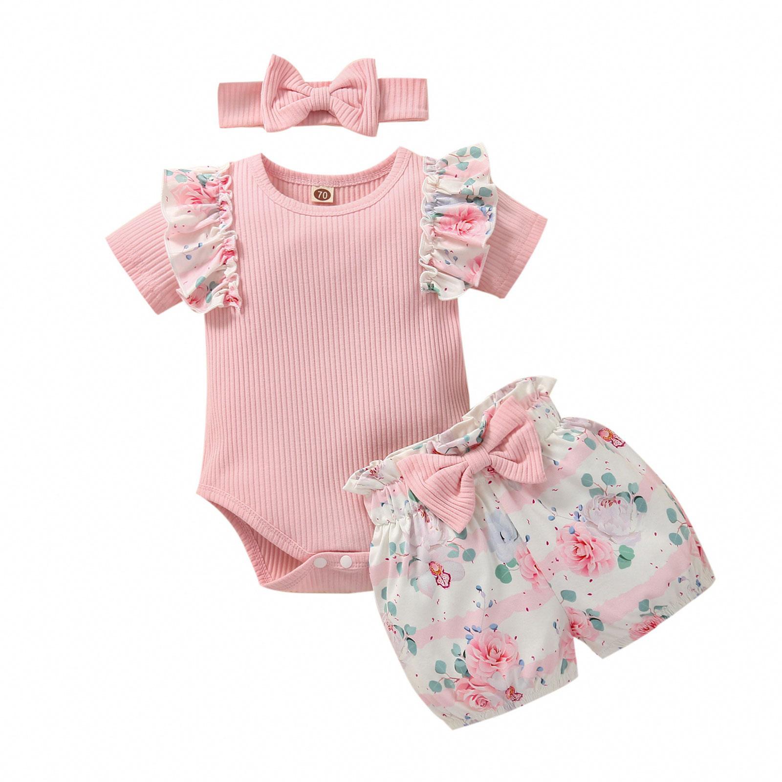 Размер 0-12 мес., комплект летней одежды для малышей; Хлопковые вязаные брюки капри со складками, комбинезоны с короткими рукавами + комплекты ...