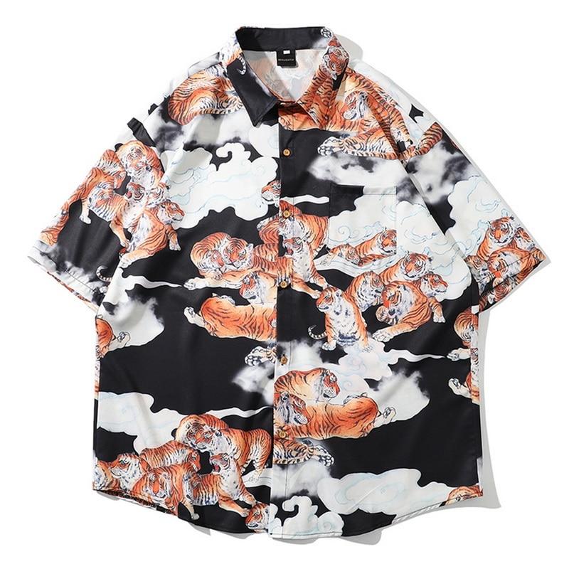 Camisa holgada Henley de manga corta de lino y algodón con cuello levantado y estampado étnico para hombre de verano 2020
