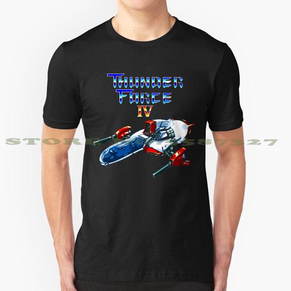 Thunder Force IV (ekran tytułu Mega Drive) graficzny niestandardowy zabawny gorąca sprzedaż tshirt